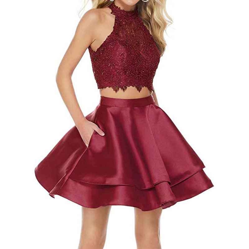 133-1     Halter Two Pieces Homecoming Dresses Short with Pockets Lace Beaded Prom Dresses