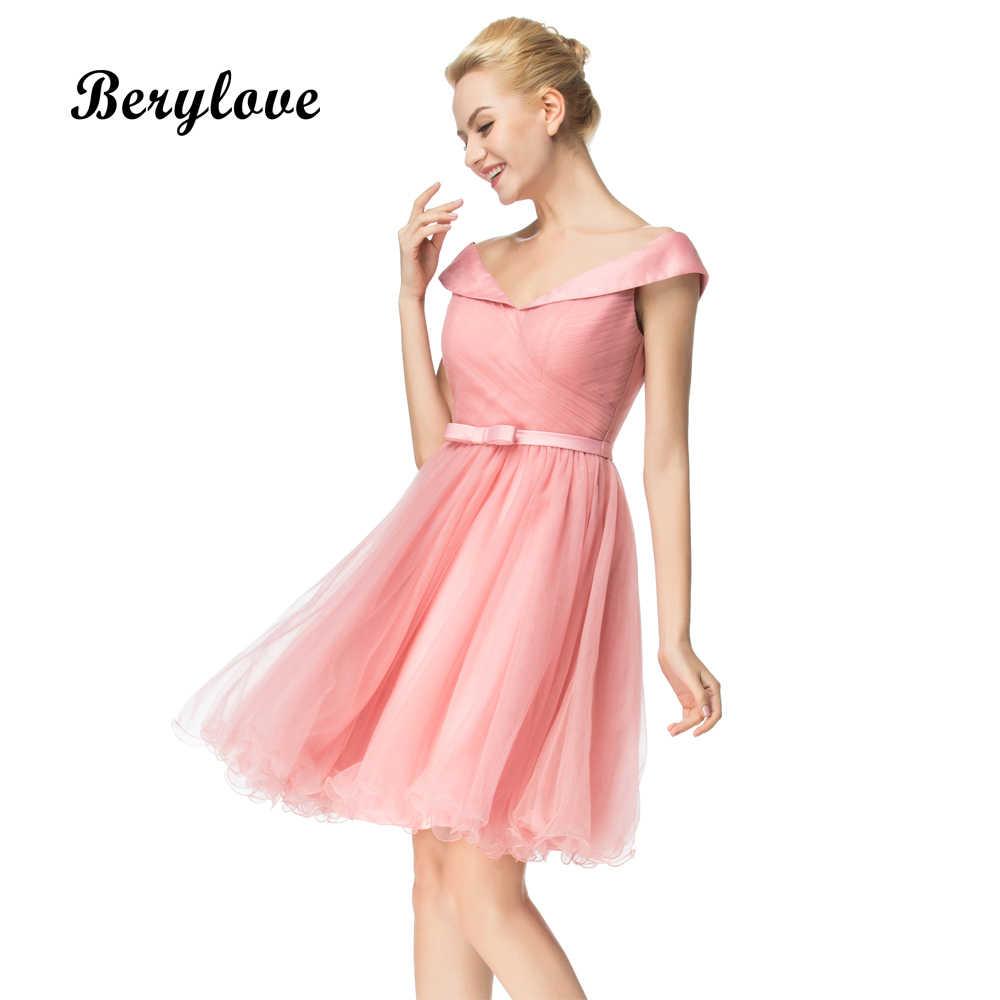 cdc70226ef1a272 BeryLove нежно-розовые короткие вечерние платья 2018 мини с открытыми  плечами Homecoming платья Выпускной платье