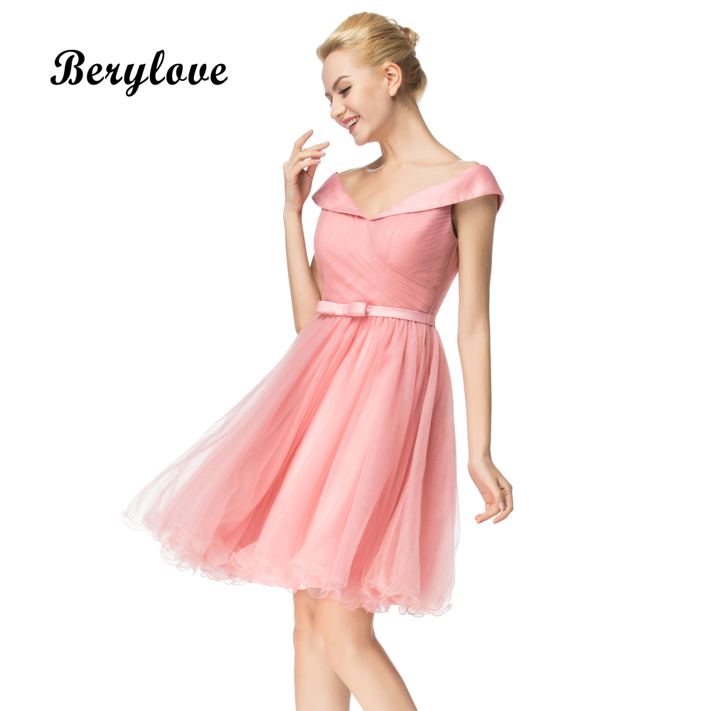 a23bc28b15861 BeryLove Blush Pink Short Homecoming Dresses 2018 Mini Off Shoulder  Homecoming Gowns Graduation Dress Special Occasion Dresses