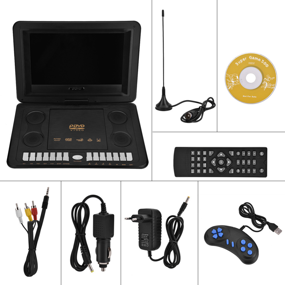 VBESTLIFE 13 8 inch Portable Radio DVD CD Player Rotatable Screen Game TV Function Car Charger