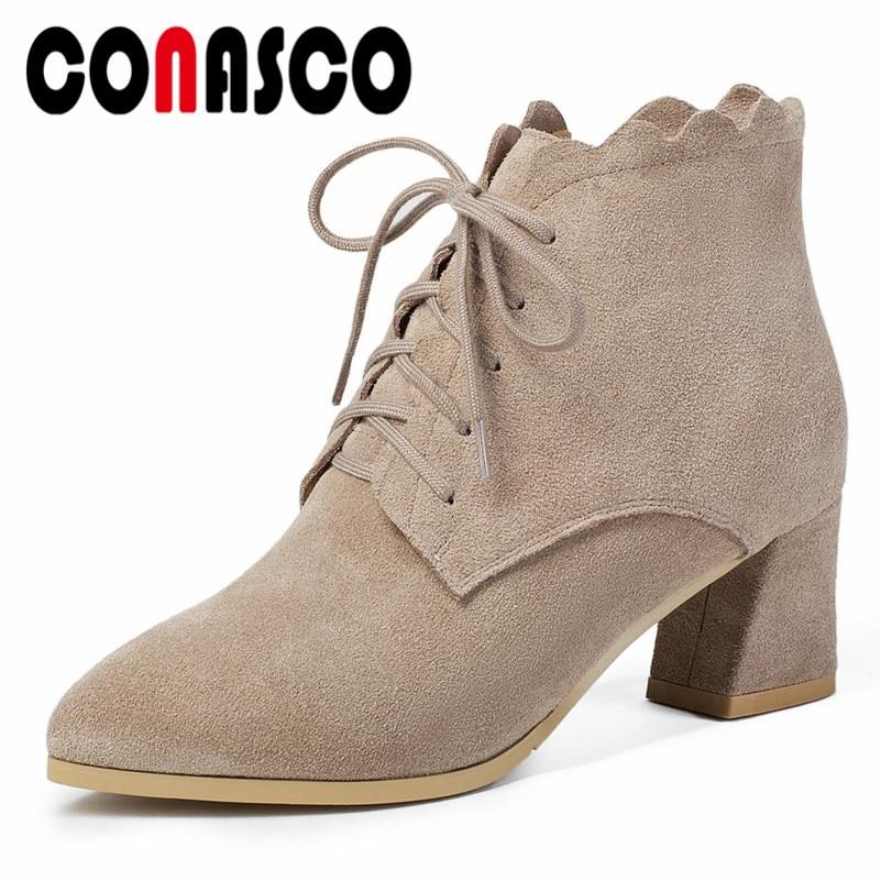 e2a045eb Con Mujer Tacón Otoño Cordones Conasco Alto Cortos Tobillo Martin Gruesas  negro Altas Beige De Gamuza Zapatos Para Botas ...