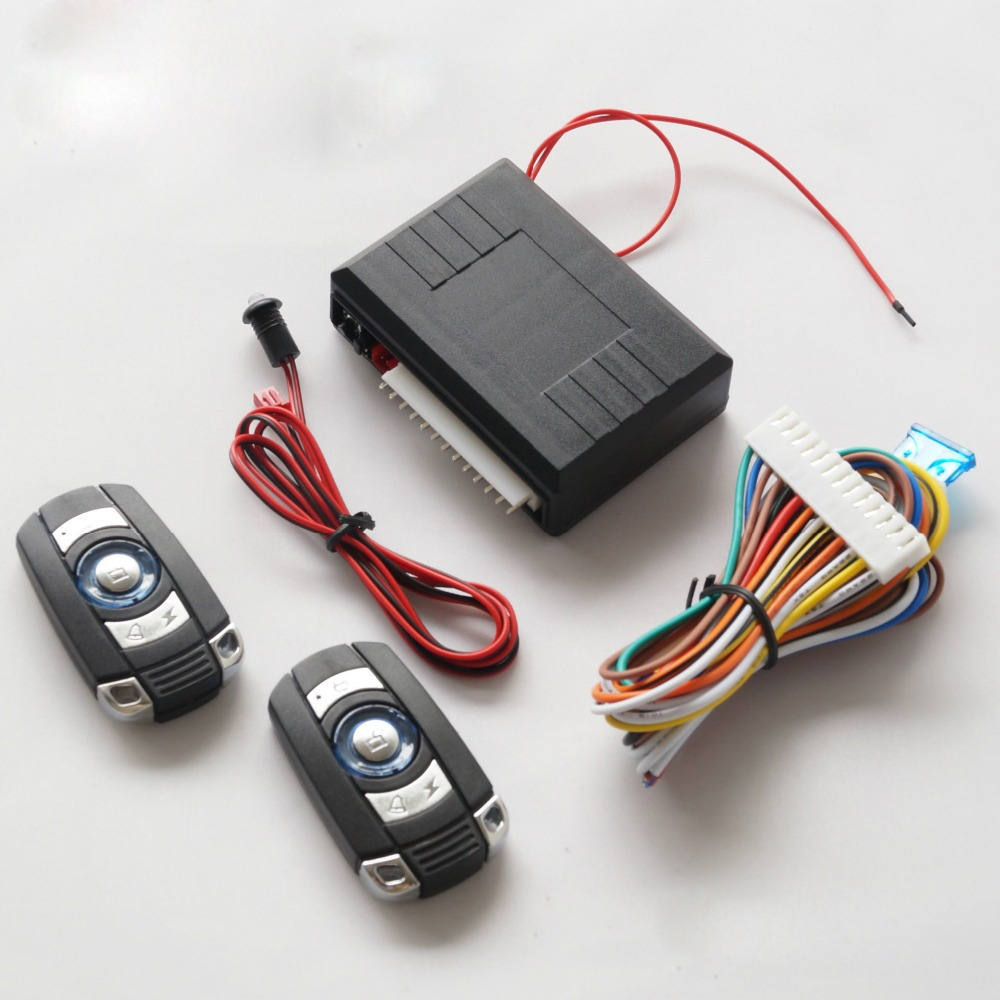 Universal Car Alarm System 2Remote Keyless Entry Fjärrkontroll Släpp Anti Stöld Power Window Output Control Central Dörr 12V