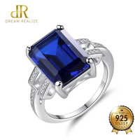 DR Exquisite 100% Silver 925 Sterling Finger Rings For Women Emerald Cut Big Size Engagement Ring Geometric Design Jewellery