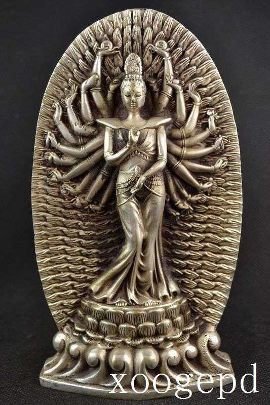 christmas Tibetan Buddhism Sliver 1000 Arm Kwan-yin Bodhisattva buddha Goddess Statue halloweenchristmas Tibetan Buddhism Sliver 1000 Arm Kwan-yin Bodhisattva buddha Goddess Statue halloween