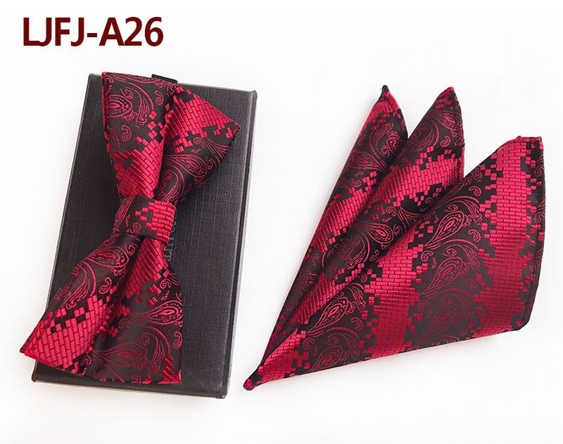 Мужской модный галстук набор полиэфирных шелковых галстуков наборы из двух частей жаккардовые галстуки для мужчин галстук носовой платок галстук-бабочка - Цвет: LJFJ-A26