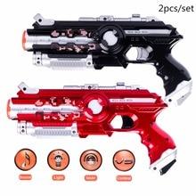 צעצוע רובים בחוץ אור שחור חשמלי קרב צעצוע האקדח לייזר סט חיישן אינפרא אדום 2pcs החדש ביותר CS משחק צעצוע לייזר צעצועים אקדח חשמלי
