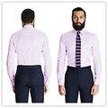 Летний стиль 100% хлопок лаванда елочка рубашка воротником с дартс назад полосатой рубашке мужчины