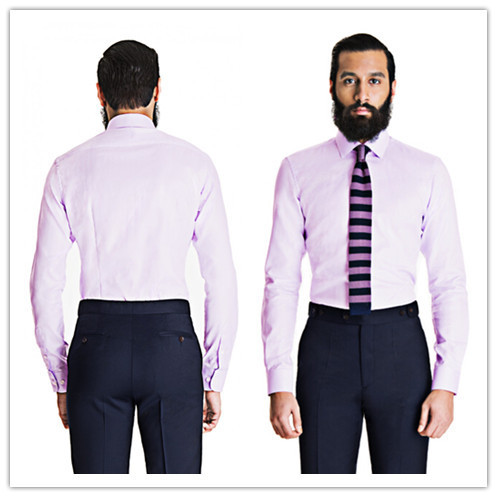 5c42343cdfac summer style 100% cotton lavender herringbone dress shirt spread collar  with darts back striped shirt men