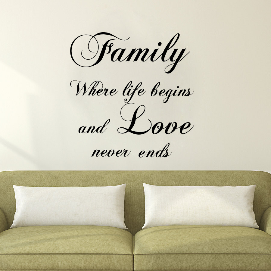 DCTOP Vinyl Art Wall Decals Family Where Life Begin Sayings Sticker Bedroom  Headboard Home Decor. High Quality Decorative Wall Sayings Promotion Shop for High
