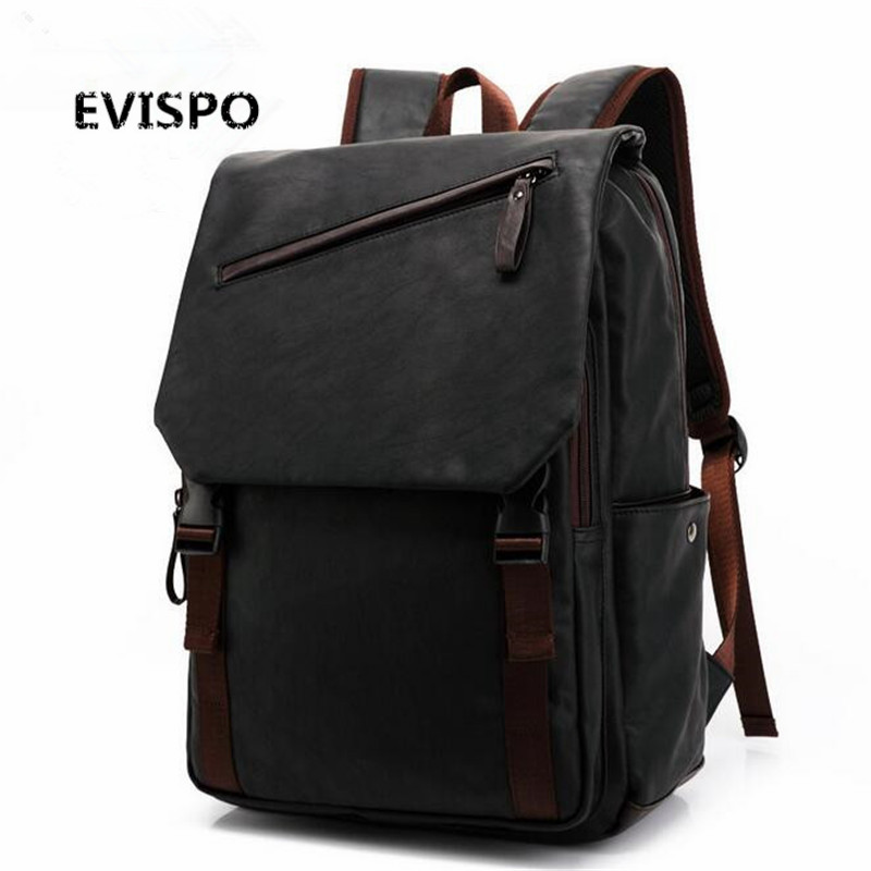 ФОТО EVISPO PU Famous Brand Preppy Style Leather School Backpack Bag For College Simple Design Men Casual Daypacks mochila male New