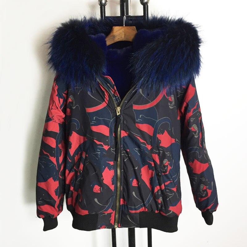 Bombardiers Rouge Fourrure Grande Capuchon Réel Femmes 2018 Doublure Bomber De Mode À Veste Conception Noir Taille Bleu 1EBqZ