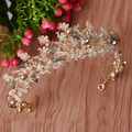 New Arrival Vintage Gold Rhinestone Queen Crown headbands Fashion crystal Diadem for Women Wedding Dress Hair accessories
