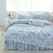 Light blue princess style floral bedding set queen full twin size lace ruffle designer duvet cover bedding pillowcase bed skirt