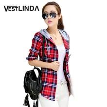 VESTLINDA Повседневная Красный Плед Блузка Рубашка Женщины Весна Длинным Рукавом С Капюшоном Рубашка Блузка Blusas 2017 Женщины Фланель Топ Верхняя Одежда