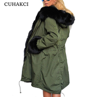 CUAHKCI Winter Coat Thickened Women Slim Long Coats Cotton Tops Ladies Black Army Green Jackets Women 2018 Hot Sale Warm Coat