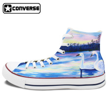 High Top Converse All Star Women Men Shoes Swan Original Design Hand Painted Sneakers Custom Design Canvas Shoes Man Woman