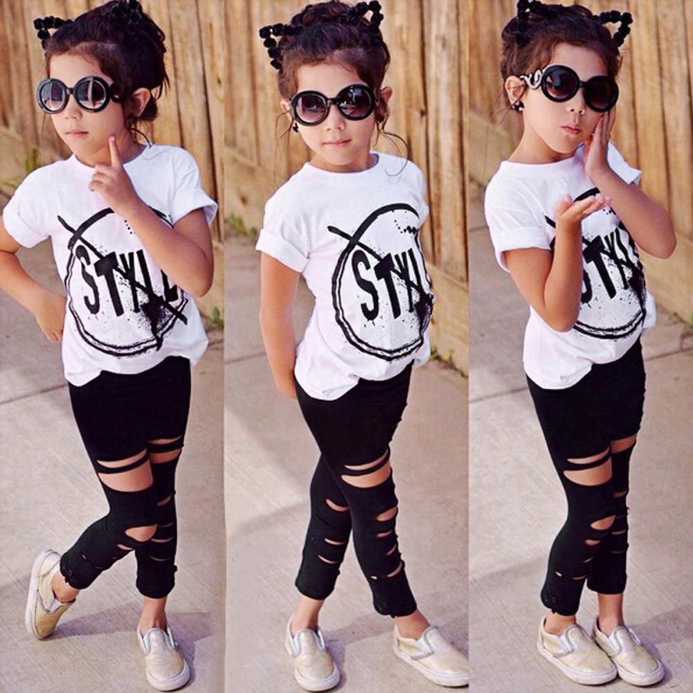 New Kids Children Girls Casual Clothes Set Letter Print T-shirt Tops+Ripped Pants 2Pc Clothes Outfit For Spring Summer For 2-6Y 2017 new 2pcs set children clothes set kids baby boys long sleeve t shirt tops harem pants clothes outfit set 2 6y spring autumn