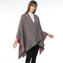 TOLINA Sexy Retro stripes style Women Knitted Cashmere Poncho Capes Shawl Cardigans