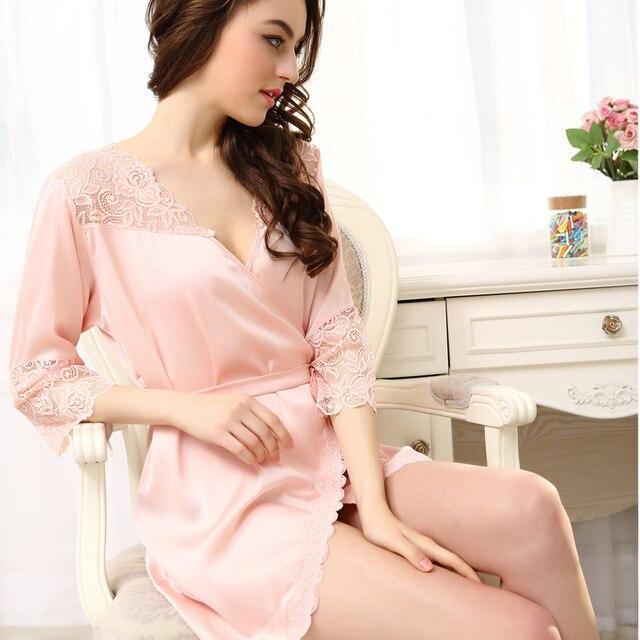Кимоно дамы сексуальная искусственного шелковый халат кружева сращивание атласном платье одежды для женщин одеяния пижамы халаты