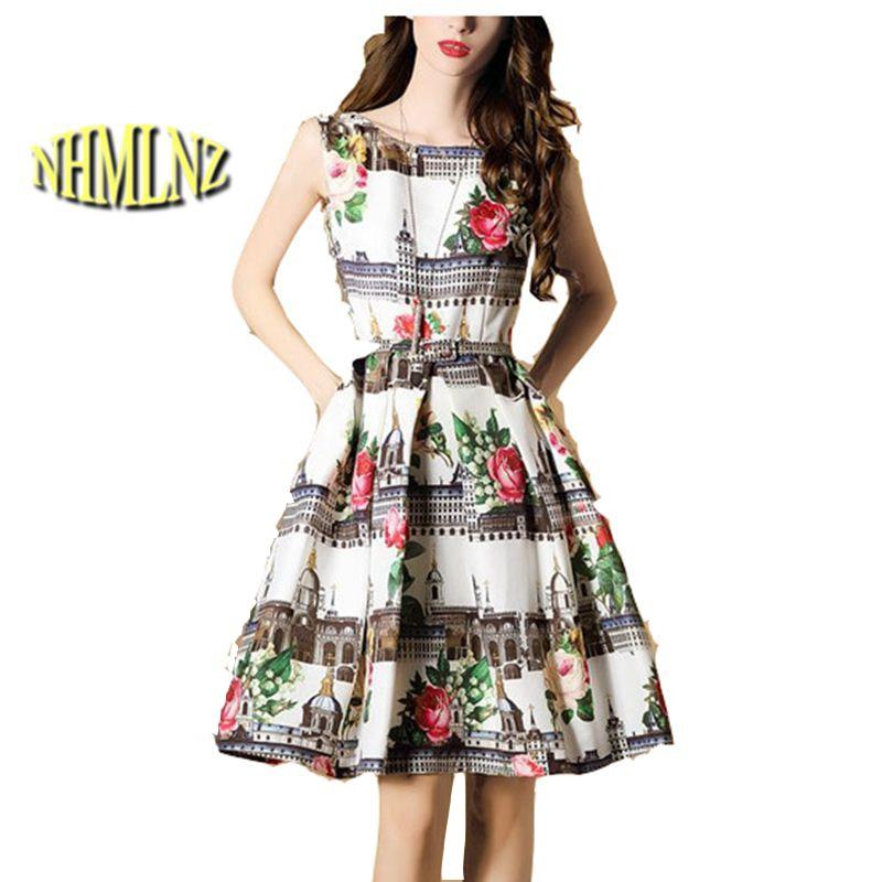 Struggle of small 2 2017 Summer New Fashion Women Dress Sleeveless O-neck A-Line Knee-Length Print Elegant Loose Women Casual Dress Vestidos OK493