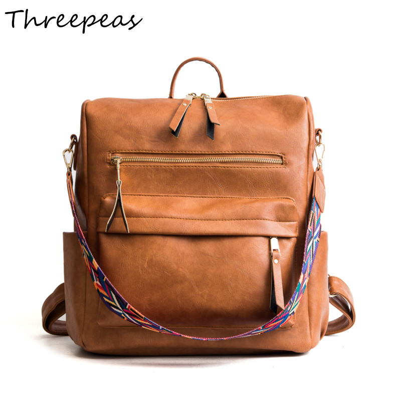 THREEPEAS Women Multifunction Backpack PU Leather Shoulder Bag Large Capacity Backbag Female Zipper School Bag Girl Travel Bag ...