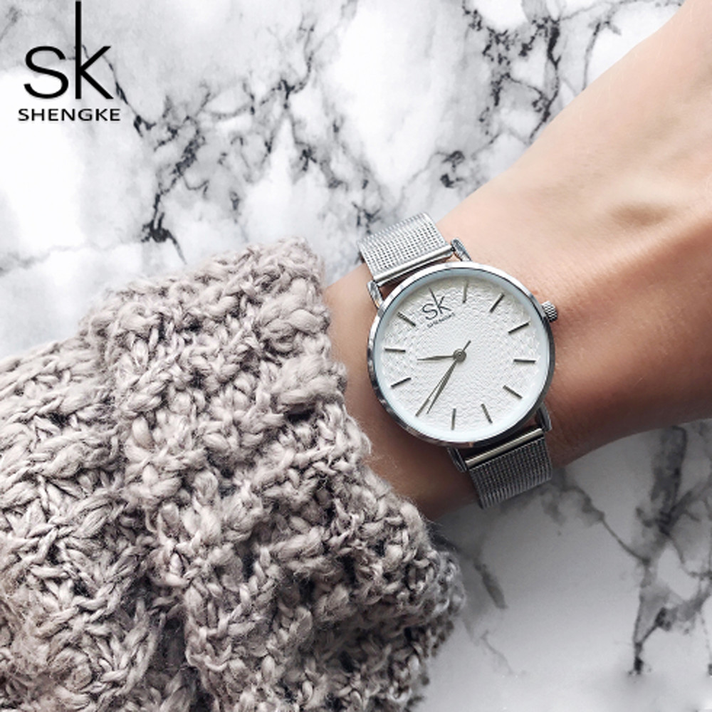 Shengke Luxury Women Watches Women Wristwatches Ladies Bracelet Watch Quartz Watch Silver Stainless Steel Watch Relogio Feminino women men quartz silver watches onlyou brand luxury ladies dress watch steel wristwatches male female watch date clock 8877