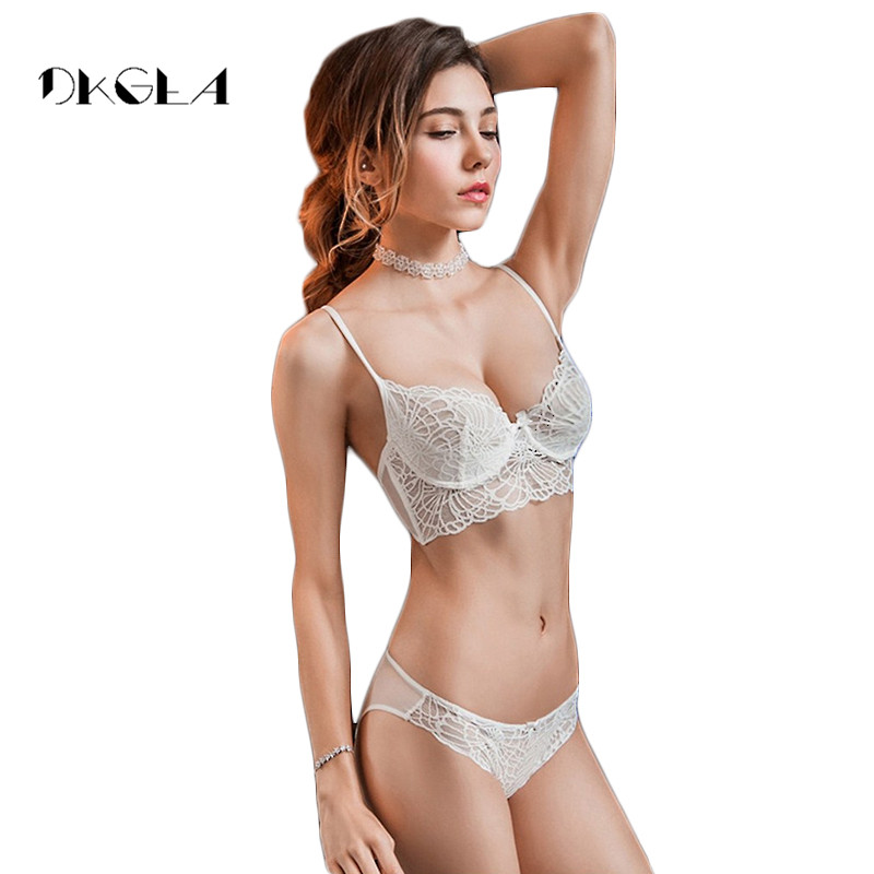 2019 New sexy   bra     set   transparent brassiere White lace Underwear women   set   Ultrathin 3/4 Cup   bra   Black embroidery lingerie