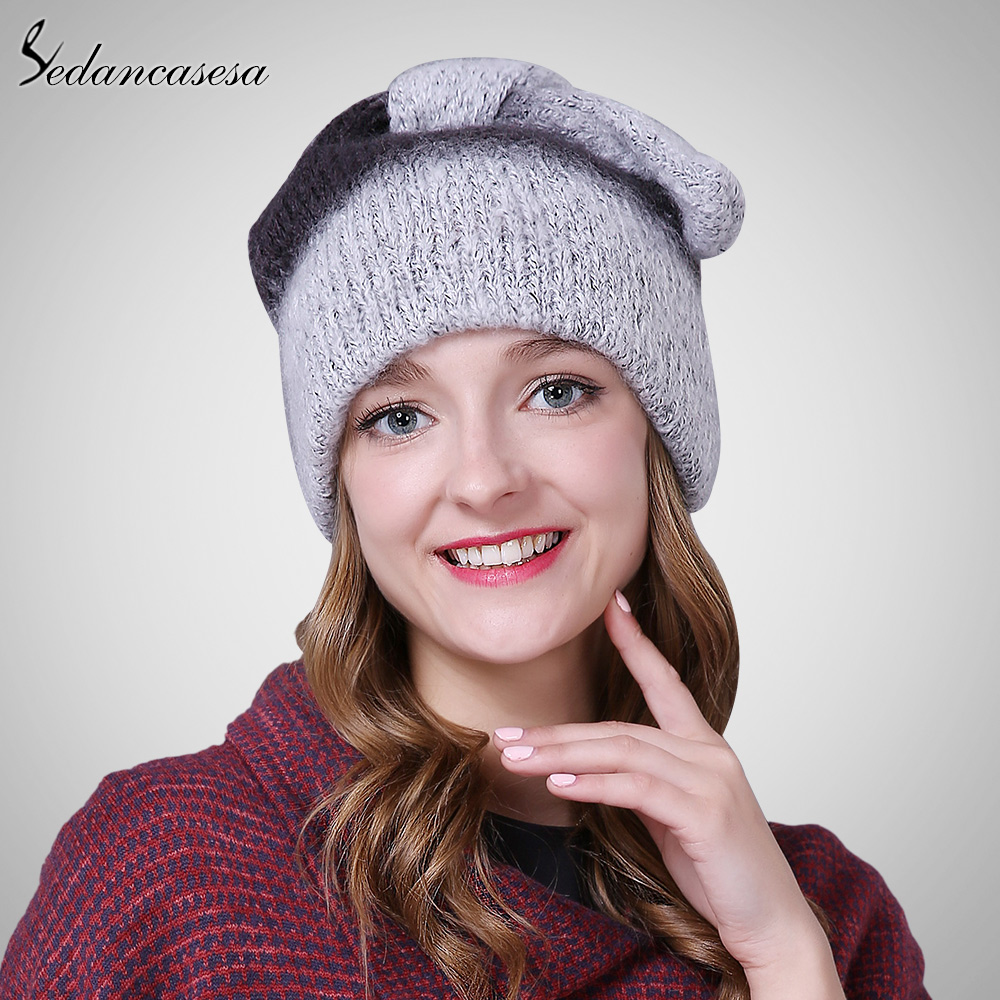 Autumn winter beanies hat unisex knitted acrylic Skullies casual cap with cute unique ears decoration contrast colors ski gorros skullies