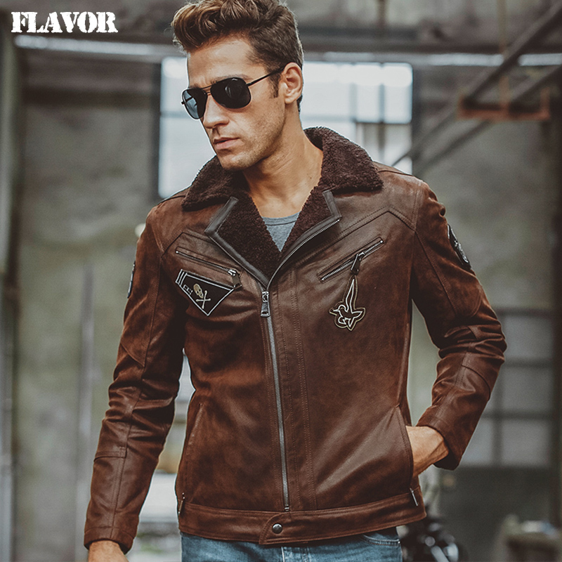 2019 New Men Genuine Leather Jacket Fashion Turn down Collar Motorcycle Leather Jackets 100 Real Sheepskin