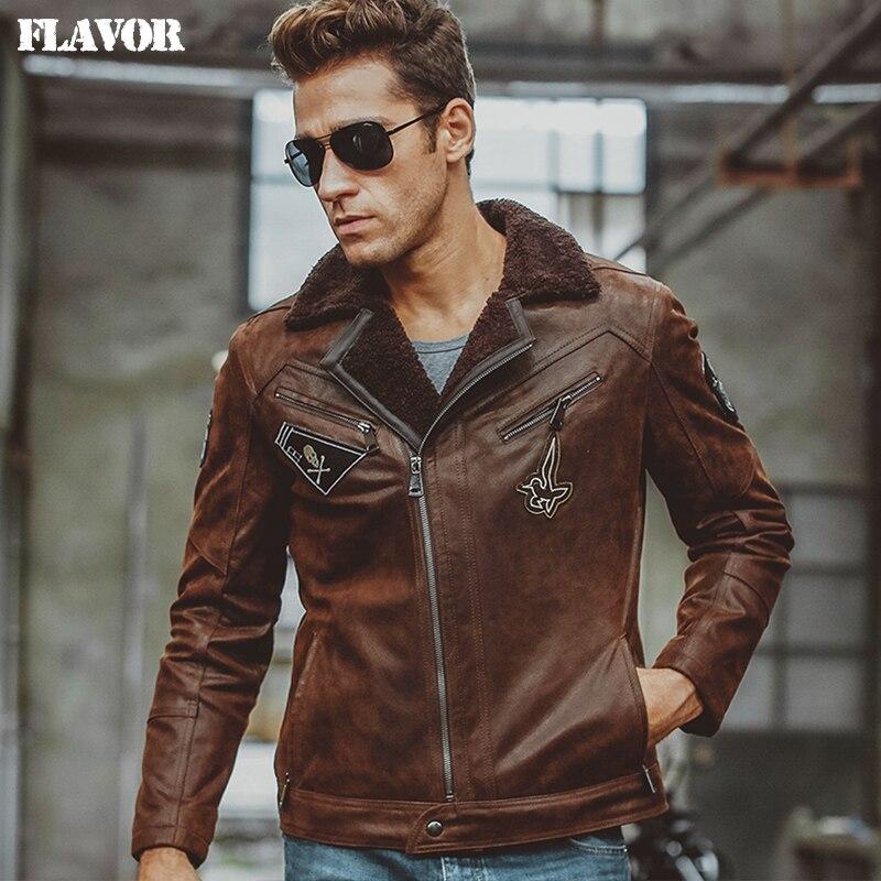 Cuoio Genuino degli uomini giacca di pelle di cinghiale giacche in vera  pelle con pelliccia del faux shearling moto bomber aviator uomini cappotto in  Cuoio ... 89b4de48521