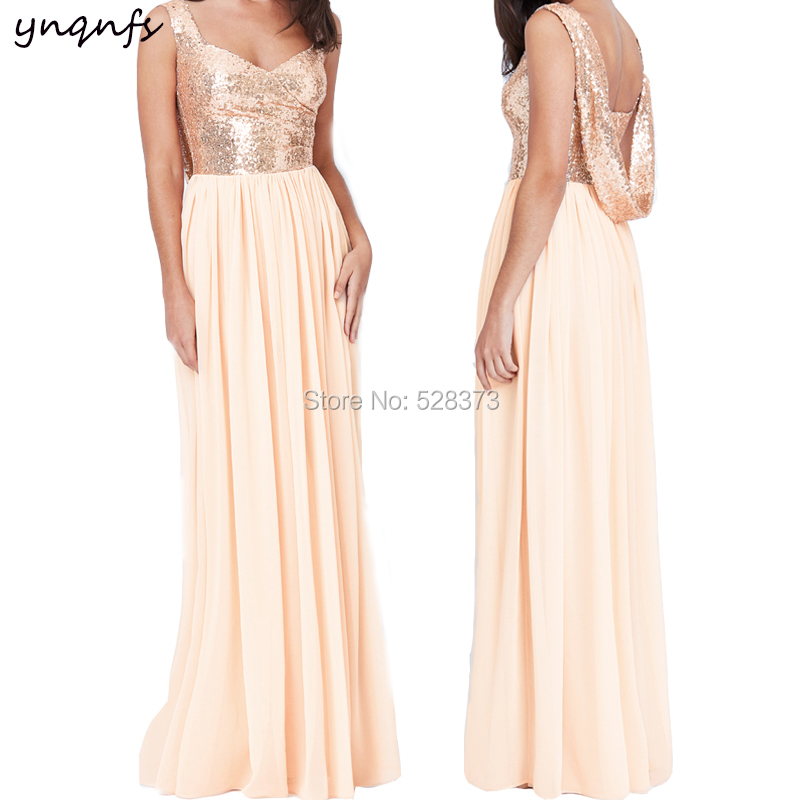 YNQNFS BD89 Elegant Low Back A-line   Bridesmaid     Dresses   Light Champagne Chiffon   Dress   2019