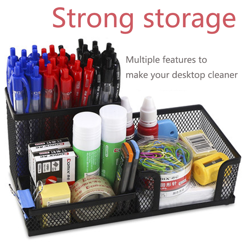 цена на TENWIN Black Multifuction Metal Desk Organizer Office Holder Box Case Organizer Home Desk Desktop Stationery School Supplies