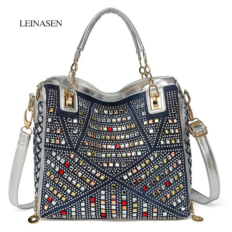2018 Fashion Brand Luxury Bag Designer Handbags High Quality Gold Diamante Woven Denim Bags luis vuiton gg bag Bolsas Sac a main 2015 special offer bolsas designer handbags high quality korean manufacturers selling new are cross printed student bag cheap