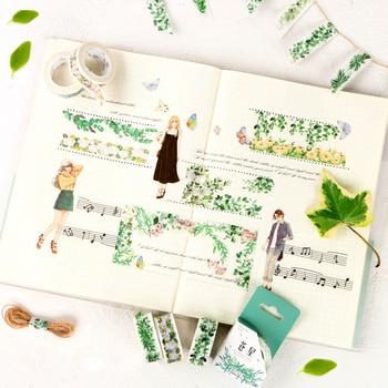 Grün pflanzen blumen Washi tape DIY retro dekorative band, vintage band, junge mädchen band