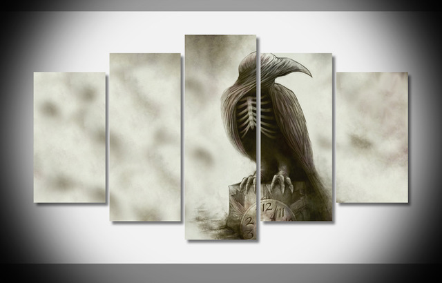 8409 Bird Clock Abstract Creepy Skeleton Poe Raven Gothic poster ...