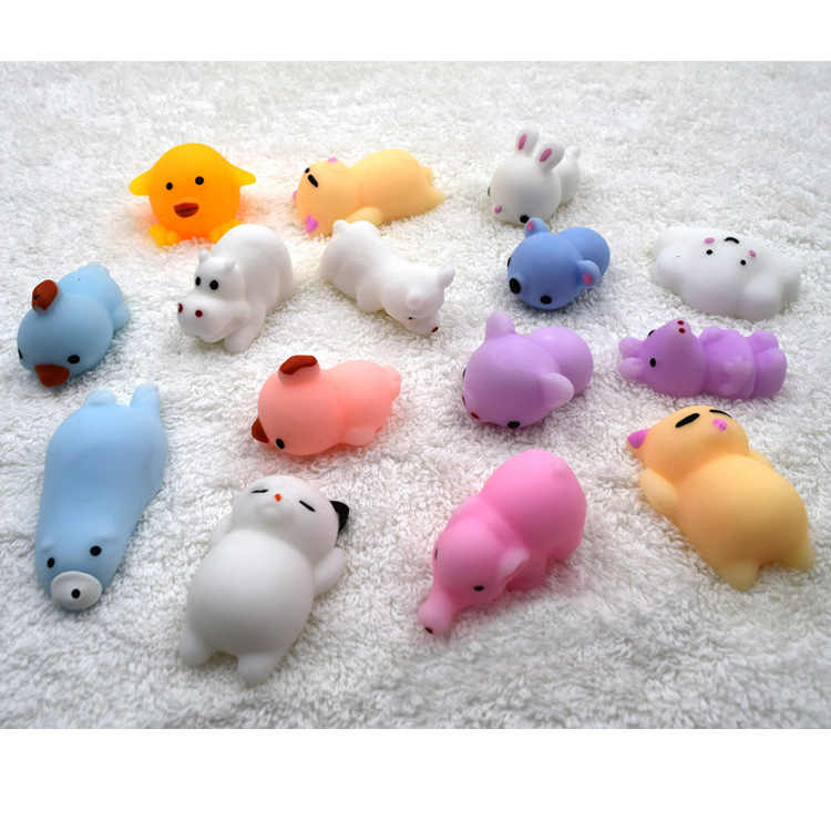 Забавный мини Squeeze игрушки мягкие мягкими руки мягкими Животные кукла Резиновая Хлюпать антистресс шутка рост снижение игрушки для сжимания подарки
