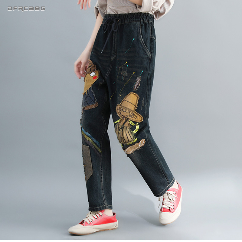 Elastic Waist Plus Size Jeans For Women Boyfriend 2019 Autumn Loose Ladies Nine Length Retro Cartoon Cowboy Denim Harem Pants