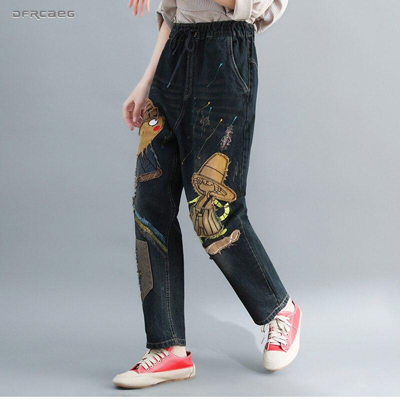 Elastic Waist Plus Size   Jeans   For Women Boyfriend 2019 Autumn Loose Ladies Nine Length Retro Cartoon Cowboy Denim Harem Pants