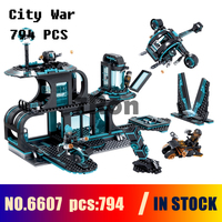 Compatible with lego Models building toy 6607 794pcs City War X agents Spaceport Helicopter Motorcycle Building Blocks & hobbies