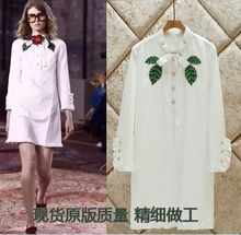 Rhinestone Studded Green Leaves Buttoned Sash Straps 3/4 Sleeve Embroidered Tunic Dress Summer Dresses Long Shirt Dress