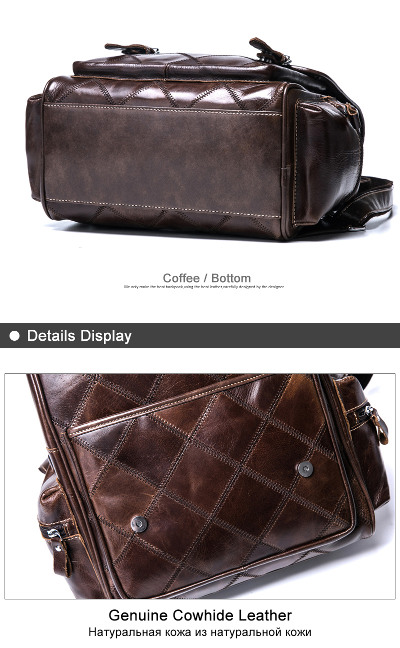 Women's Backpack Genuine Leather Lovely Shine Plaid