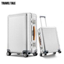 """Conto de viagem 20 """"26 polegada 100% alumínio rolando bagagem mala girador trolly saco para viajar"""