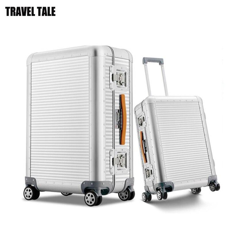 """Bagaj ve Çantalar'ten Tekerlekli Bagaj'de Seyahat masalı 20 """"26 inç 100% alüminyum haddeleme bagaj bavul spinner trolly çanta seyahat için'da  Grup 1"""