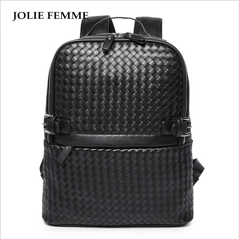 ФОТО  JOLIE FEMME High Quality Male Bag Men Women Travel  Microfiber Leather Weave Backpack Fashion Laptop Waterproof Large Capacity