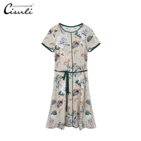 Women Dresses 100% Silk Dress Classic Chinese Style Elegant Ladies Printing Silk Double Geogette Crepe Fabric Summer Dresses