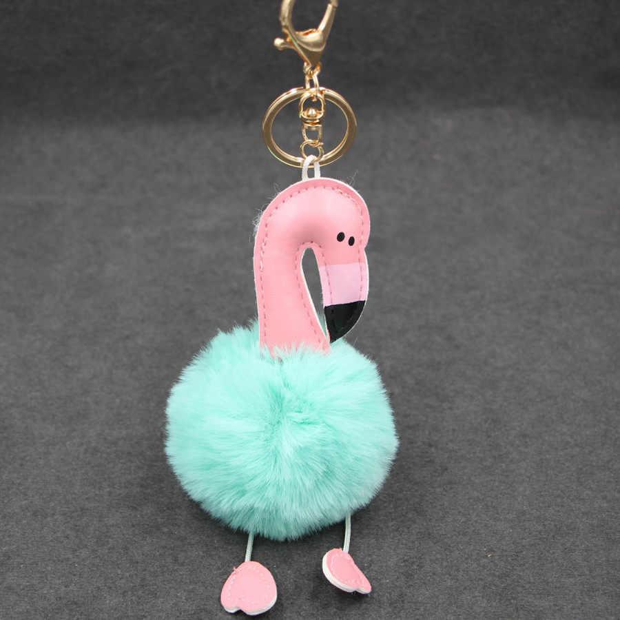 Alta Qualidade pc Pompom 1 Flamingo Dos Desenhos Animados Fluffy Plush Bolsa Chaveiro Carro Fivela Chave Chaveiro Chaveiro para As Mulheres presente jóias