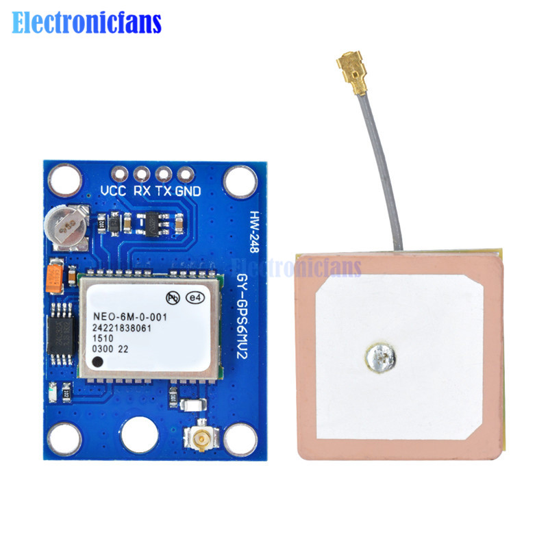 1Set NEO-6M GPS Module GY-GPS6MV2 NEO6MV2 Buit-in EEPROM APM2.5 Antenna 3V-5V RS232 TTL Board For Arduino Flight Control