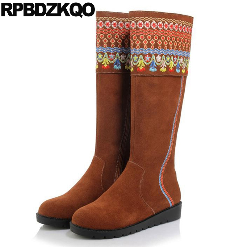 Long Genuine Leather Wedge Embroidered Shoes Suede Brown Luxury Embroidery Winter Knee High Women Boots 2017 Round Toe Female front lace up casual ankle boots autumn vintage brown new booties flat genuine leather suede shoes round toe fall female fashion