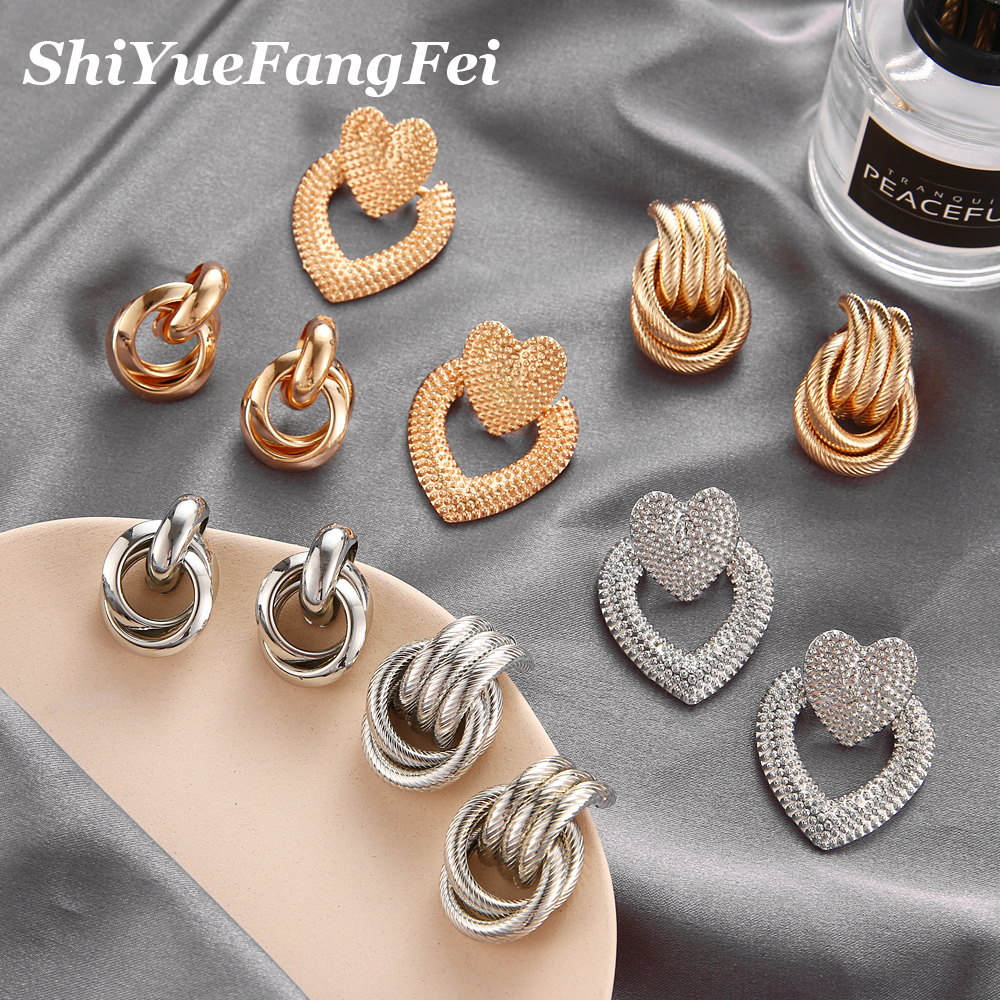 2019 Fashion Classic Gold Color Twisted Love Knot Stud Earrings For Women Simple Geometric Small Earrings Wedding Bridal Jewelry