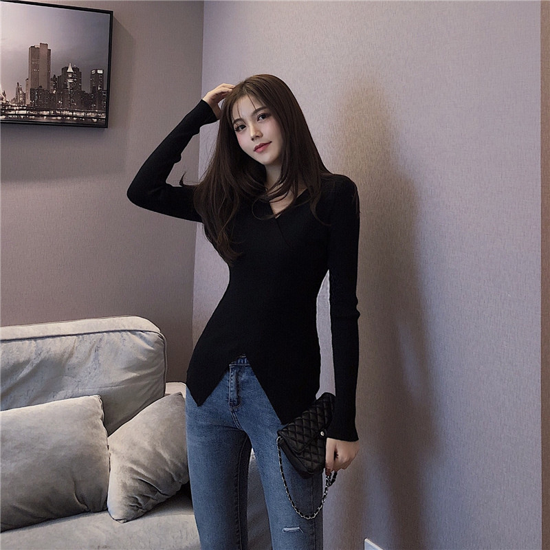 OLN Women Sweater 2019 New Slim Bottoming Sweaters Fashion Female 39 s Pullover Sexy Sweater V Neck Criss Cross Top Pull Femme 1322 in Pullovers from Women 39 s Clothing